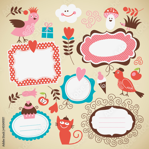 vector set: kids icon, frames and decor elements