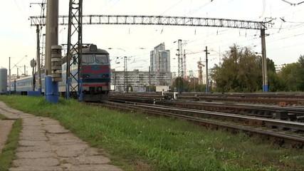 Old passenger train on turn