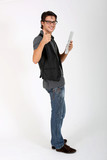 Cheerful guy with tablet showing thumb up