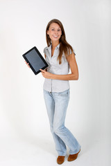 Cheerful girl showing touchpad screen, isolated