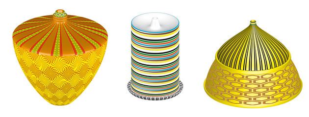 Set of oil lamps, 3D.