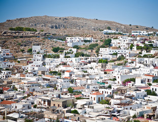Panoramic view of Lindos Rhodes Island, Greece