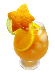 fruit orange punch cocktail drink with ice