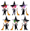 Set of funny witches. Vector isolated characters.