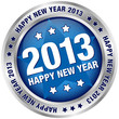 "Button ""2013 - Happy New Year"" Blue/Silver"