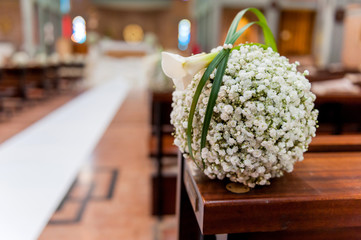 white flowers in church
