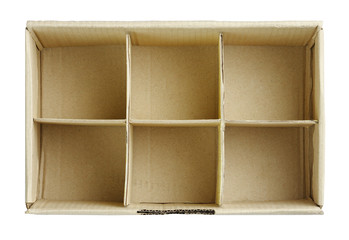 Empty paper boxes isolated top view