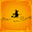 Halloween Flying Witch Retro Orange