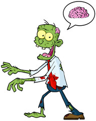 Zombie Walking With Hands In Front And Speech Bubble With Brain