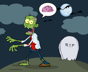 Cartoon Zombie Walking With Hands In Night