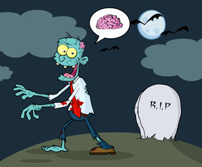 Blue Cartoon Zombie Walking With Hands In Night