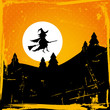 Halloween Background Flying Witch & Full Moon Retro Orange