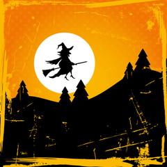 Halloween Background Flying Witch & Full Moon Retro Orange