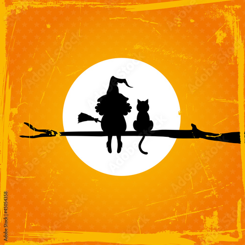 Witch With & Cat Sitting On A Tree Full Moon Retro Orange