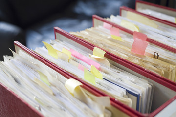 file folders, close up, selective focus,