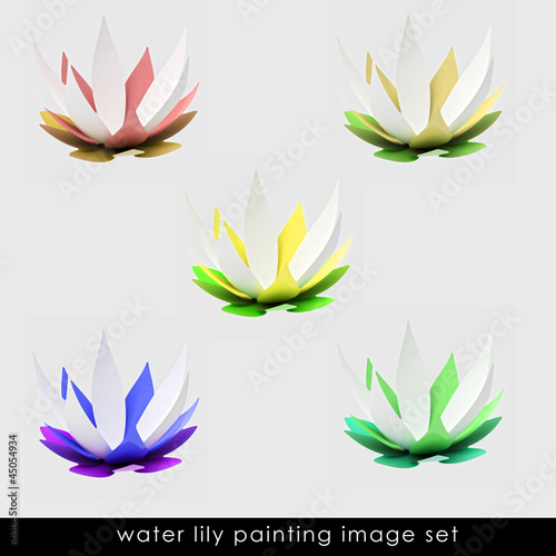 isolated six colorful blossom paintings set