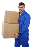 Relocation assistant staff carrying cardboard boxes poster