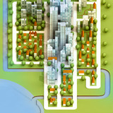 cityscape of new sustainable city development illustration poster