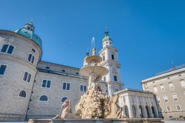 Residenzbrunnen fountain on Residenzplatz at Salzburg, Austria