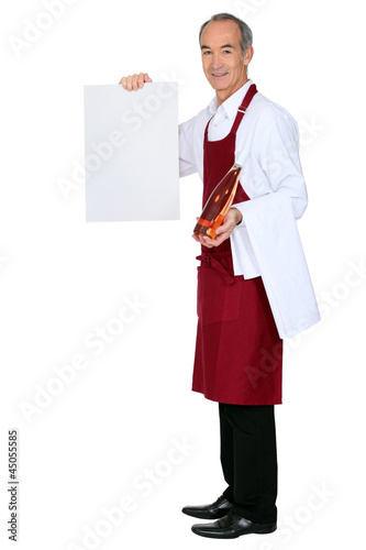 Male waiter hold message board