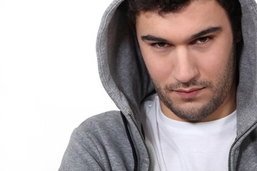Young man in a hooded top