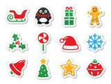 Fototapety Christmas icons as colourful labels set