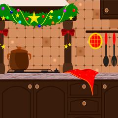 cucina rustica addobbata per natale