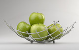 modern style fruit basket made of steel wire  ( clipping path )