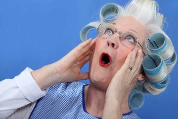 Elderly woman in shock