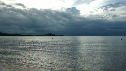 Tropical sea before storm in the evening