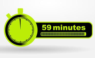 icône 59 minutes sur chronomêtre vert et noir