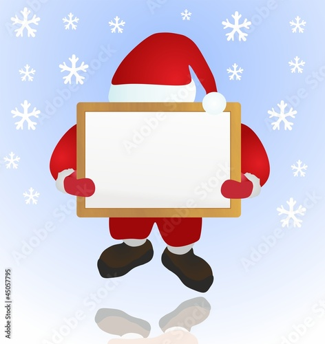 santa and wood board - snow