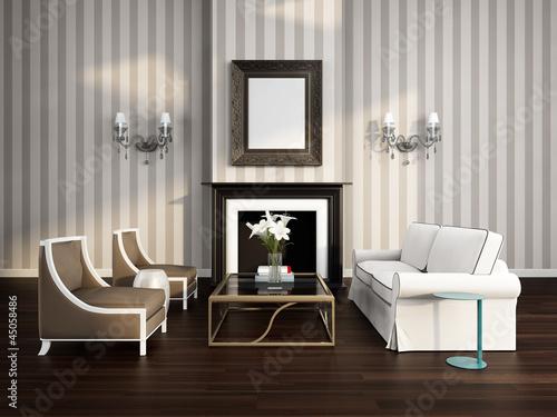 ispirazioni Portugues camino : ... soggiorno di lusso a righe con camino e divano - bigio ? PIXERS.it