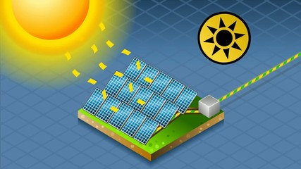 solar panel in production of energy from the sun