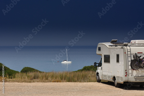 Poster Camper van on the beach