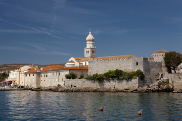 Walls of Frankopan castle in Krk-city, Croatia.