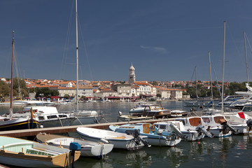 Boat harbor in Krk, Croatia.