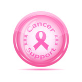 vector illustration of a  cancer support icon with pink ribbon