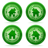 Vector illustration of a set of glossy green house icons isolate
