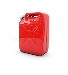 Roter Benzinkanister auf weißem Grund