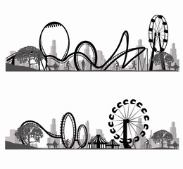 Vector illustration.Roller Coaster Silhouette