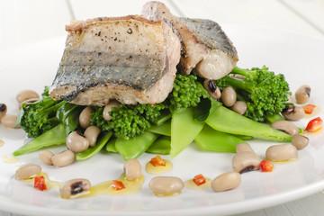 Grilled mackerel fillet with green vegetables & black eyed peas