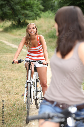 Teenagers cycling