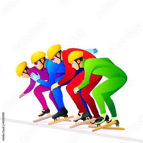 Colorful short-track ice-skaters at the start line