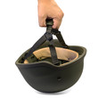 Hand picking up military or police helmet with chin strap.