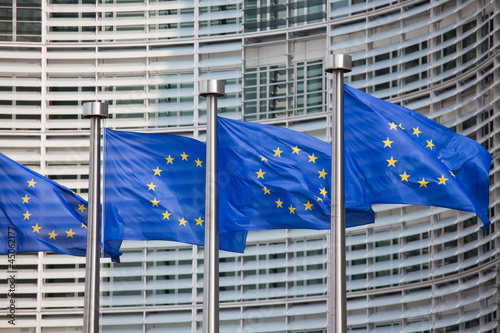 Fototapeta European flags in Brussels
