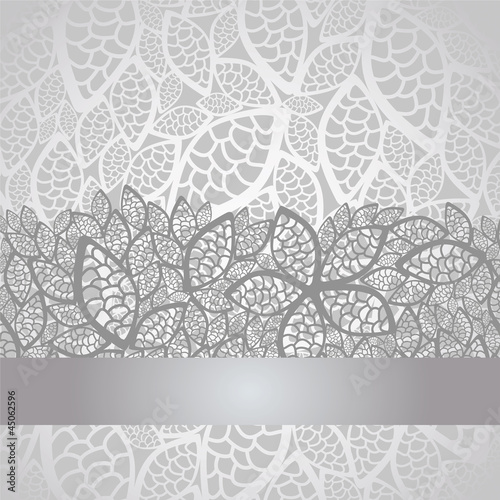 Vector: Luxury silver leaves lace border and background