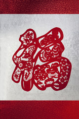 Chinese traditional Paper cutting showing HAPPINESS