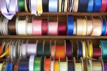 Selection Of Colourful Ribbons On Haberdashery Stall