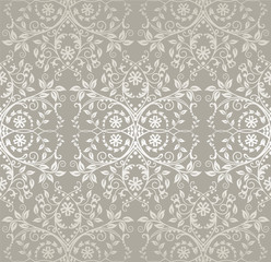 Seamless silver lace flowers and leaves wallpaper